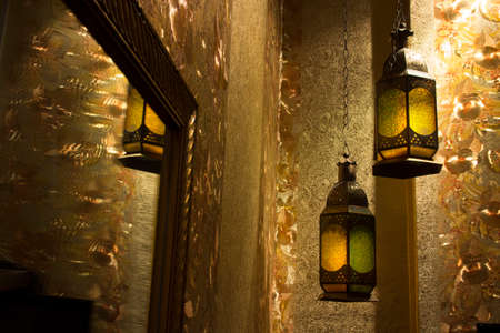gold souk: Moroccan lantern with colored glass