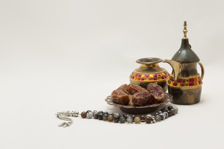 Collection of Teapot, Dates and Rosary, you can use it as Greeting Card or as a folklore Photo