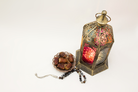 Ramadan Kareem.. Lantern, Rosary and Bowl of Dates, a photo that can use it as Greeting Card