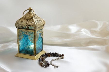 Copper Lightened Lantern with Luxury Rosary