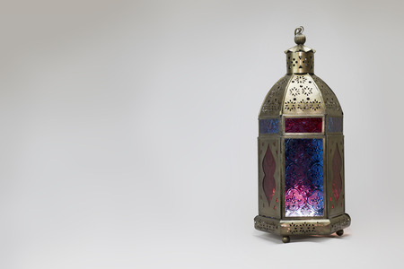 variegated: Copper Lantern variegated with colored glass Stock Photo