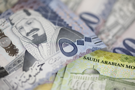 새로운 사우디 리얄 메모의 근접 촬영 스톡 콘텐츠