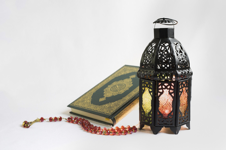 Oriental lantern and Holy Book Quran Stock Photo