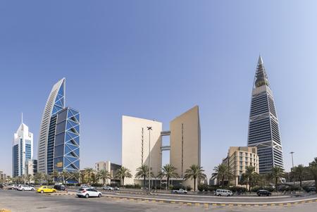 Riyadh, Saudi Arabia,November 11, 2017, King Fahd Road, in scene : Al Faisalia Commercial Building, Ministry of Islamic Affairs and alfaisal museum