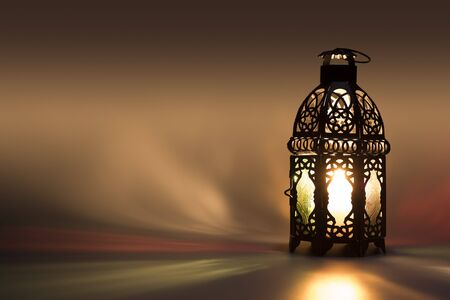 Lantern reflecting Colored lights on background
