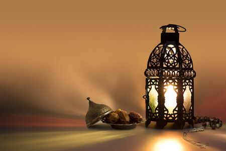 Lantern with date fruits and some light effects.