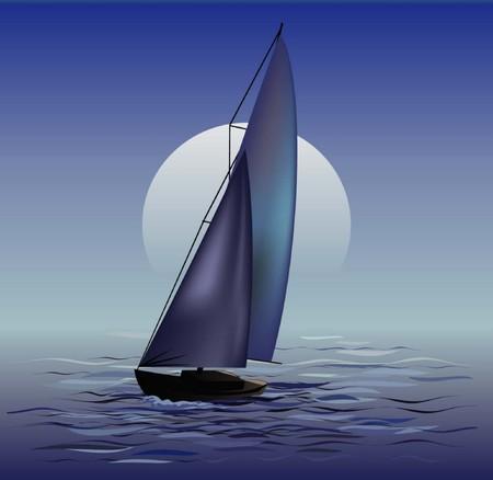 moonrise: Sailing boat in moonrise
