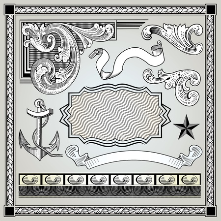 Detailed engraving set Vector