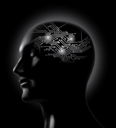 cerebro blanco y negro: Brainstorm - concepto de cerebro de placa de circuito impreso Vectores