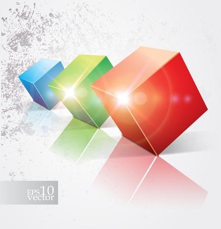 Colorful shiny cubes design