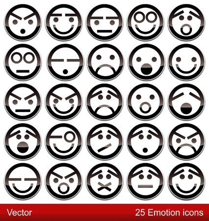 cara triste: Iconos de emoci�n Vectores