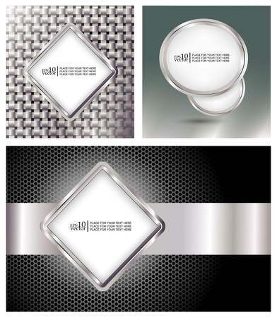 Glossy metallic style templates/banners Stock Vector - 10573566