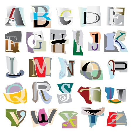 Alphabet set :big collage latters based on ripped paper pieces