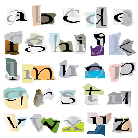 Alphabet set :small collage latters based on ripped paper pieces Stock Vector - 10573422