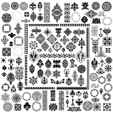 100 different style design elements Vector