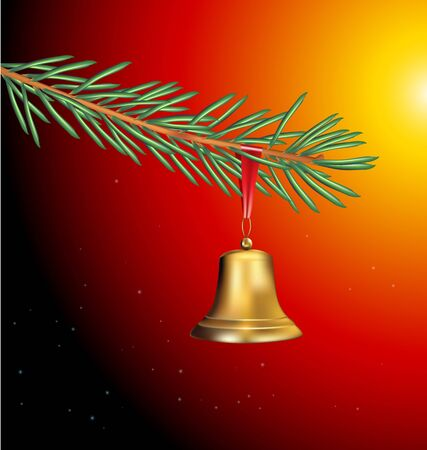 Spruce twig with golden bell: Christmas design