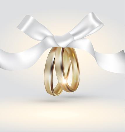anniversario di matrimonio: Anelli di nozze d'oro con nastro Vettoriali