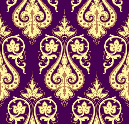 rococo: Seamless colorful damask background