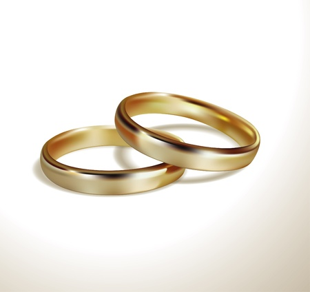 aniversario de bodas: Los anillos de bodas de oro Vectores
