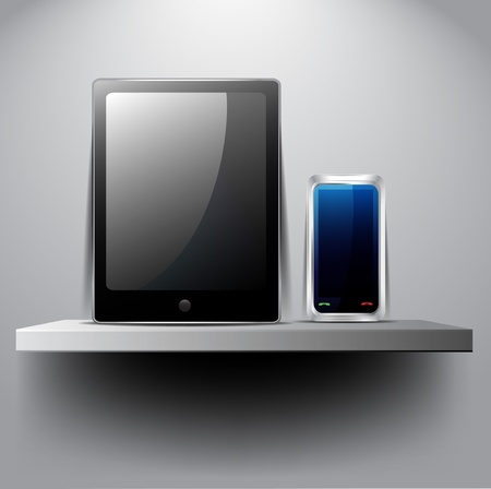 Tablet pc and smart phone on shelf Vector