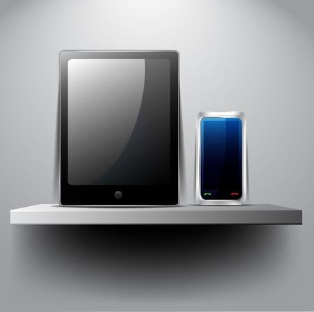 Tablet pc and smart phone on shelf Illustration