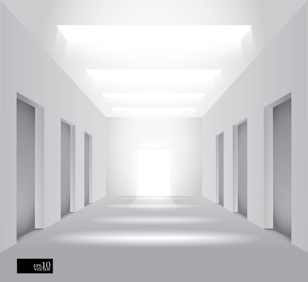 walkway: Hall with lights