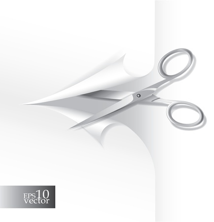 Scissors cutting paper Illustration