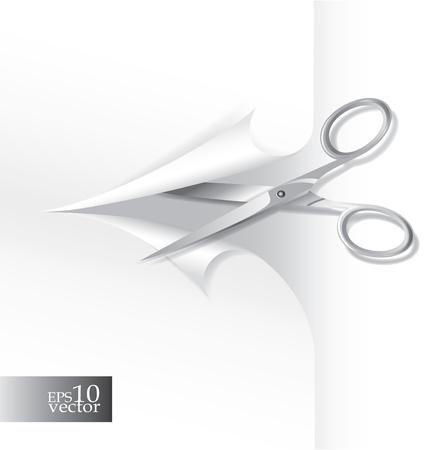 Scissors cutting paper Illustration