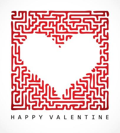 Valentine card-labirynt serce