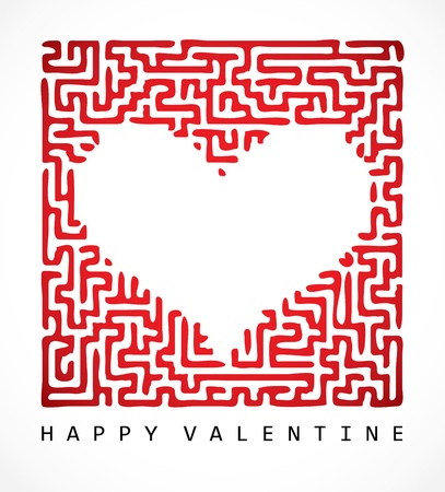 Valentine card- maze heart Stock Vector - 11988762