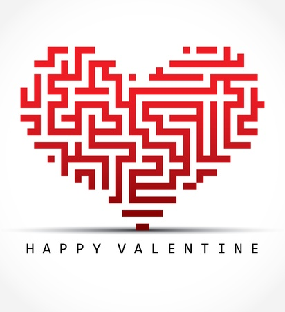 Valentine card- maze heart Vector