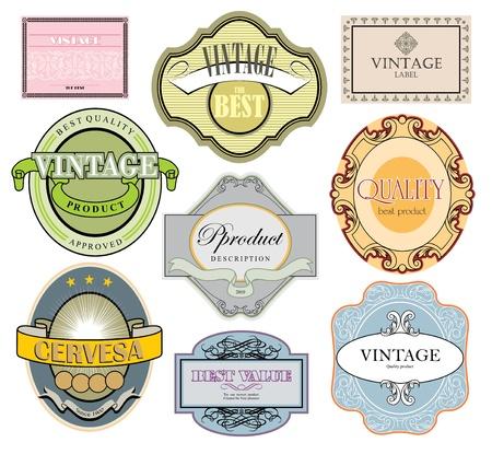 Vintage style zestaw etykiet Ilustracja