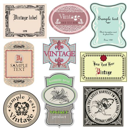 Vintage style labels set