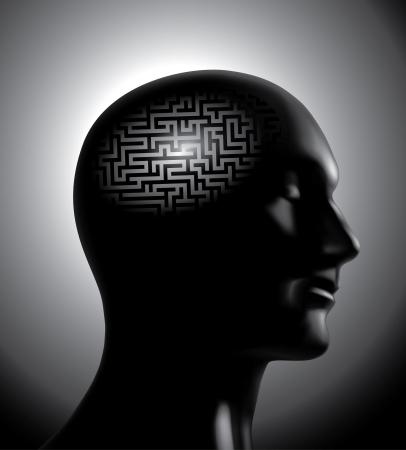 cerebro blanco y negro: Lluvia de ideas: el concepto del cerebro laberinto