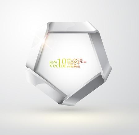 Folded metallic ribbon design Vector