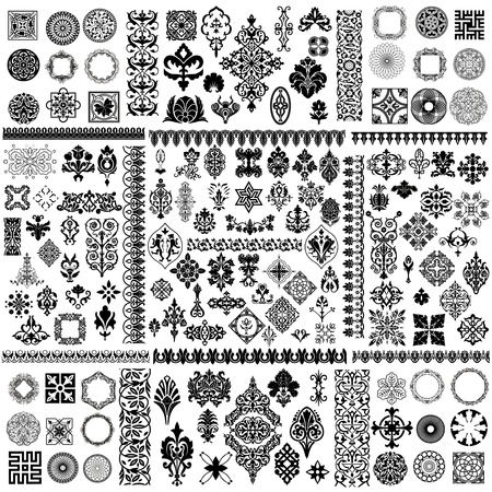 baroque pattern: Set of different style design elements
