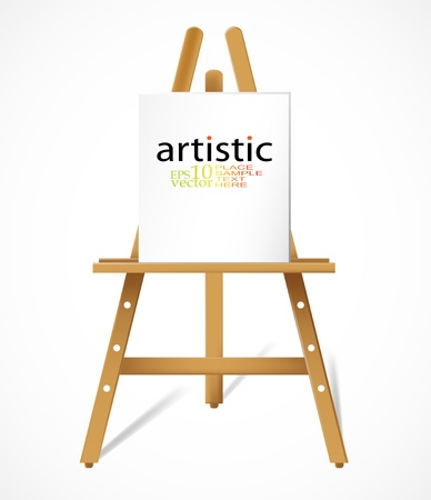 Easel with blank canvas Vector