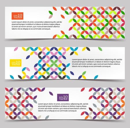 web header: Coloridas banderas de patrones web