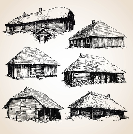 old barn: Drawings of old wooden buildings