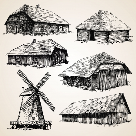 Drawings of old wooden buildings