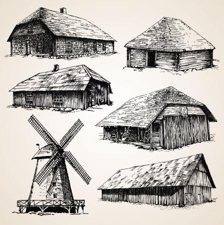 Rysunki starych drewnianych budynków