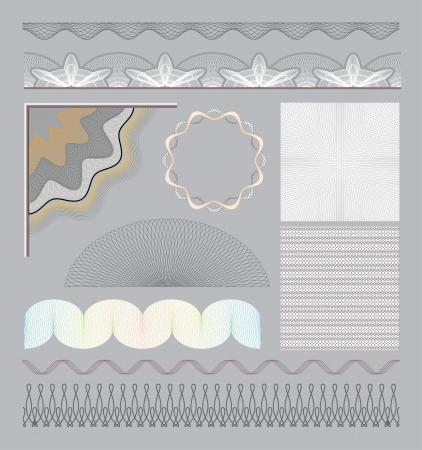 Set of guilloche elements Illustration
