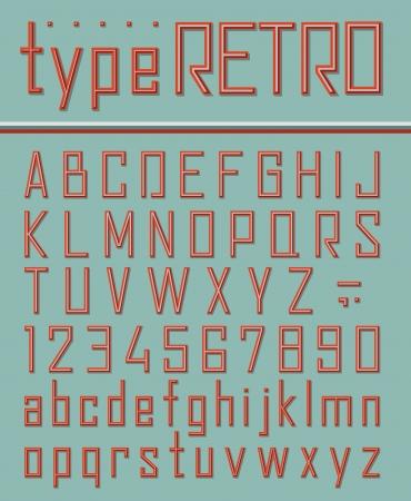 Retro style font Illustration