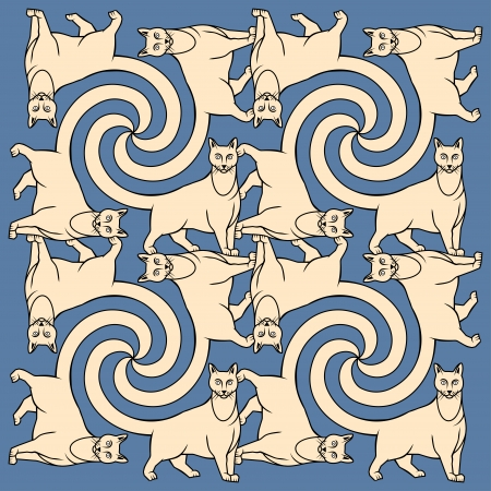 tessellate: Seamless cat pattern Illustration