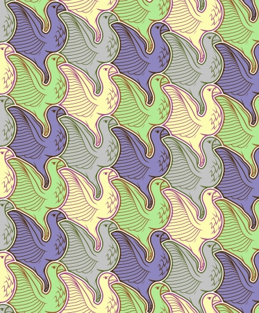 Seamless bird pattern Illustration