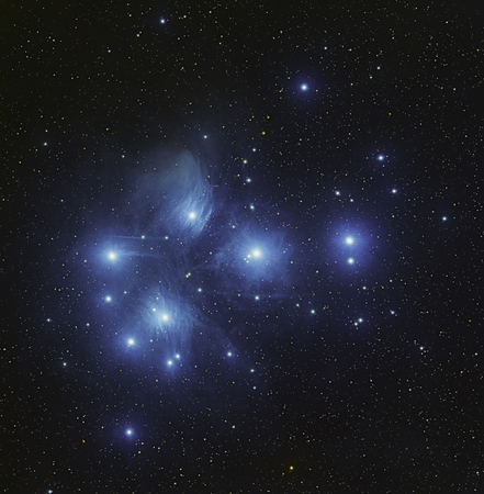 Real star cluster Pleiades in Taurus taken with CCD camera through medium focal length telescope