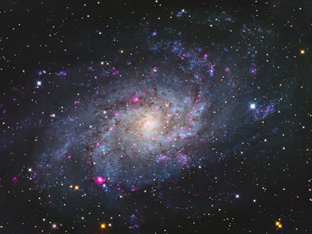 triangulum: Real large nearby galaxy named Triangulum galaxy M33 taken with CCD and telescope