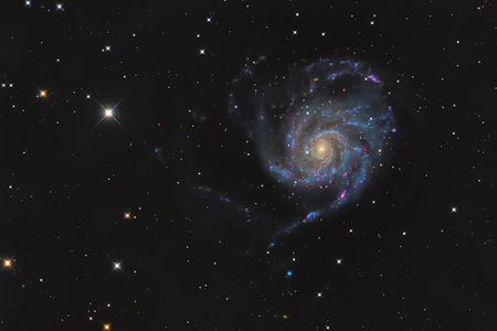 messier: Messier 101 or Pinwheel galaxy in the constellation Ursa Major taken with CCD camera and medium focal length telescope Stock Photo