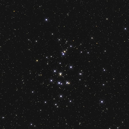 Real large star cluster M44 or NGC 2632 the Beehive Cluster in the constellation Cancer in Northern sky taken with CCD camera and telescope