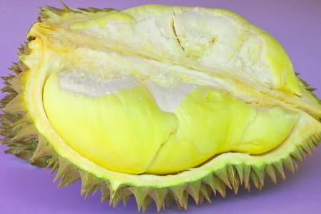 Durian on purple background photo